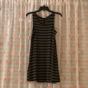 Army green and black stripe dress